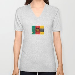 Old Vintage Acoustic Guitar with Cameroon Flag Unisex V-Neck