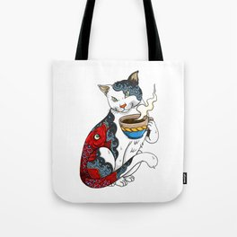 Cat Drinking Coffee With Fish Tattoo - Cat & Coffee Lovers gift idea Tote Bag