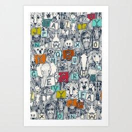 animal ABC indigo multi Art Print