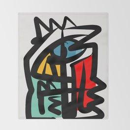 Street art abstract portrait pop Throw Blanket