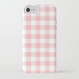 Coral Checker Gingham Plaid iPhone Case