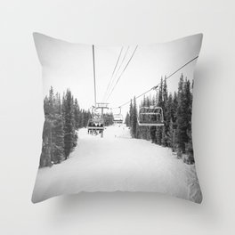 Ski Chair Lift B&W \\ Deep Snow Season Pass Dreams \\ Snowy Winter Mountains Landscape Photography Throw Pillow
