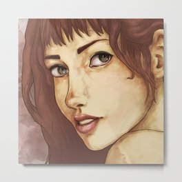 Red Feminine Girl Metal Print