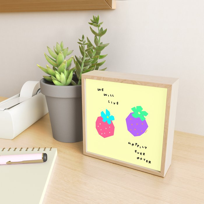 Words from Strawberries - love illustration sweet quote Framed Mini Art Print