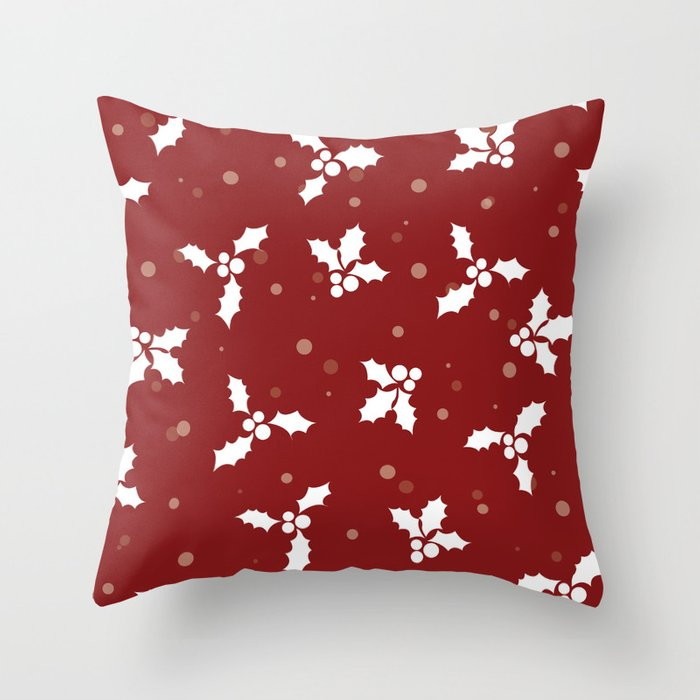Red christmas pattern Throw Pillow