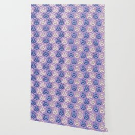 Mid Century Modern Retro Flower Pattern Lavender and Blue 931 Wallpaper