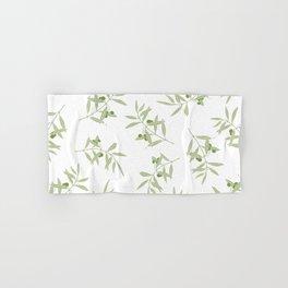 olive branch pattern design - white Hand & Bath Towel