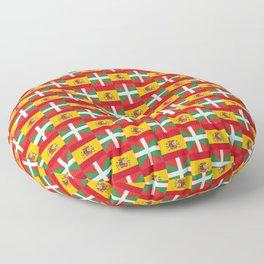 mix of flag: spain and euskal herria Floor Pillow