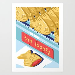 A night out in Seoul - Part 9 - Bungeoppang (fish shapes pastries) Art Print
