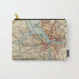 Vintage Map of Norfolk and Portsmouth VA (1919) Carry-All Pouch