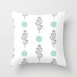 Black brunches & green dots pattern Throw Pillow