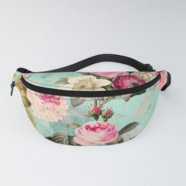 Vintage & Shabby Chic - Summer Teal Roses Flower Garden Fanny Pack