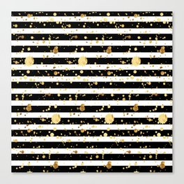 Stripes & Gold Splatter - Horizontal Canvas Print