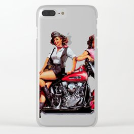 Classic Bike pin up Clear iPhone Case