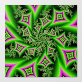 Green And Pink Shapes Fractal Canvas Print