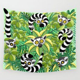 Lemurs on Madagascar Rainforest Wall Tapestry