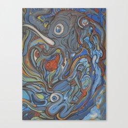 Elephant VS Giraffe (resized) Canvas Print