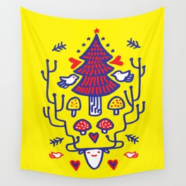 Xmas tree Yellow Land Wall Tapestry