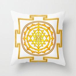 Sri Yantra - Golden Yellow Throw Pillow