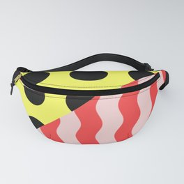 Polka Waves - black and yellow polka dots and red and pink waves Fanny Pack