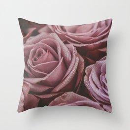 Dewy Blush Roses Throw Pillow