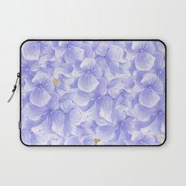 Elegant lavender white faux gold watercolor hydrangea flowers Laptop Sleeve