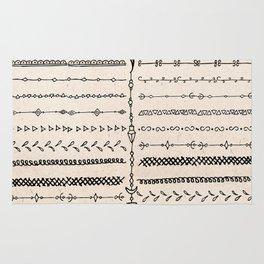 Vintage white modern black bohemian aztec pattern Rug