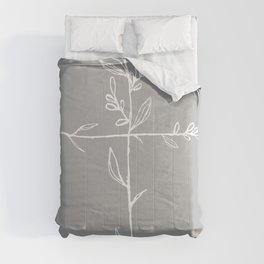 Twig Cross, A Simple Floral White Cross Comforters