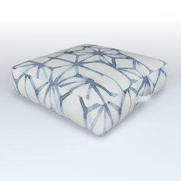 Simply Shibori Stars in Indigo Blue on Lunar Gray Outdoor Floor Cushion