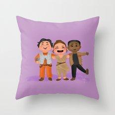 Rey, Finn, and Poe Star/Wars fanart Throw Pillow