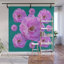 Pink Wild Roses on Teal Color Wall Mural
