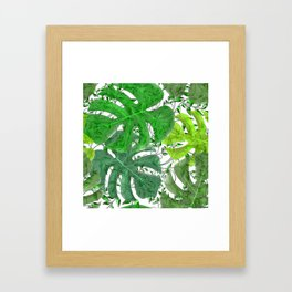 PALM LEAF B0UNTY GREEN AND WHITE Framed Art Print