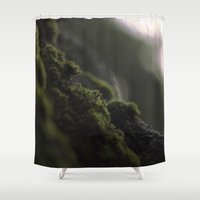 kate moss Shower Curtains featuring MOSS by Erin Graboski