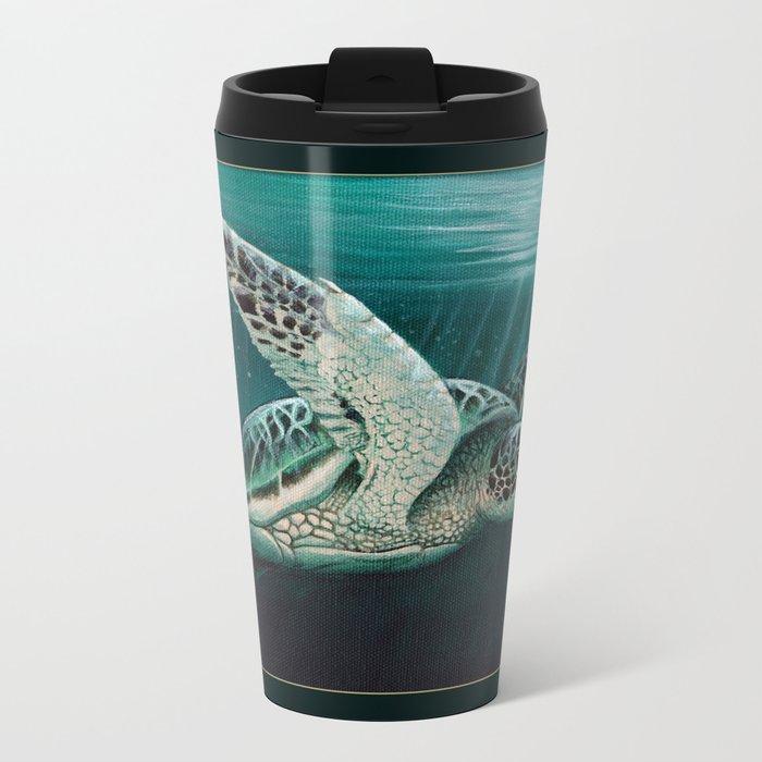 """Moonlit"" by Amber Marine - Sea Turtle, Acrylic Painting, (Copyright 2015) Metal Travel Mug"