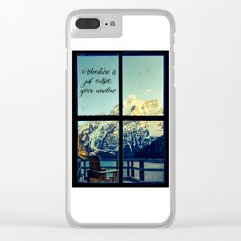 Adventure is just outside your window Clear iPhone Case