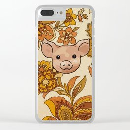 Retro Floral Piggy Clear iPhone Case