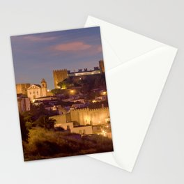 Obidos castle at dusk, Portugal Stationery Cards