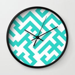 White and Turquoise Diagonal Labyrinth Wall Clock
