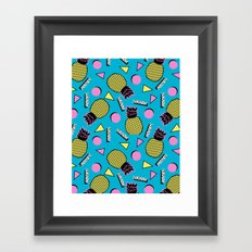Primo - memphis retro throwback 1980s 80s neon style pop art wacka designs pineapple tropical fruit Framed Art Print