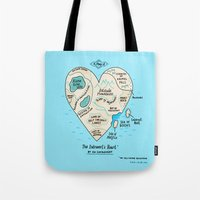 map Tote Bags featuring A Map of the Introvert's Heart by gemma correll
