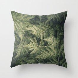 SHADED GREEN FERN Throw Pillow