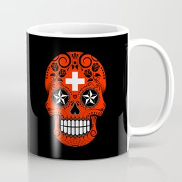 Sugar Skull with Roses and Flag of Switzerland Coffee Mug