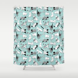 Origami kitten friends // aqua background paper cats Shower Curtain