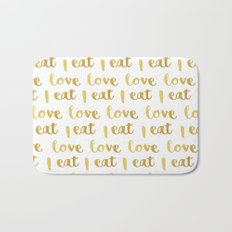 I love eat Golden Version pattern Bath Mat
