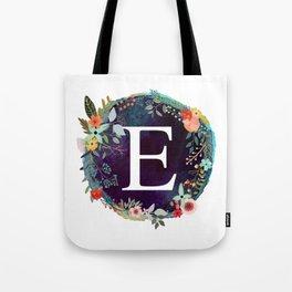 Personalized Monogram Initial Letter E Floral Wreath Artwork Tote Bag
