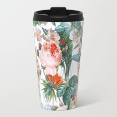 Cat and Floral Pattern III Travel Mug