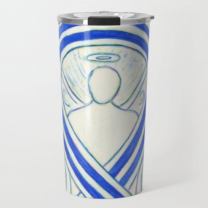 ALS Awareness Ribbon Angel Art Travel Mug