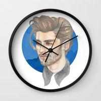 zayn malik Wall Clocks featuring Malik by Megan Diño
