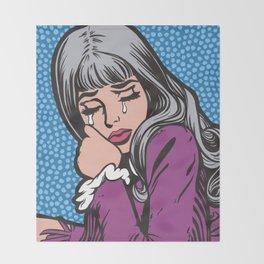 Silver Hair Sad Girl Throw Blanket