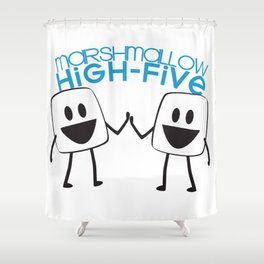 Marshmallow High Five Shower Curtain